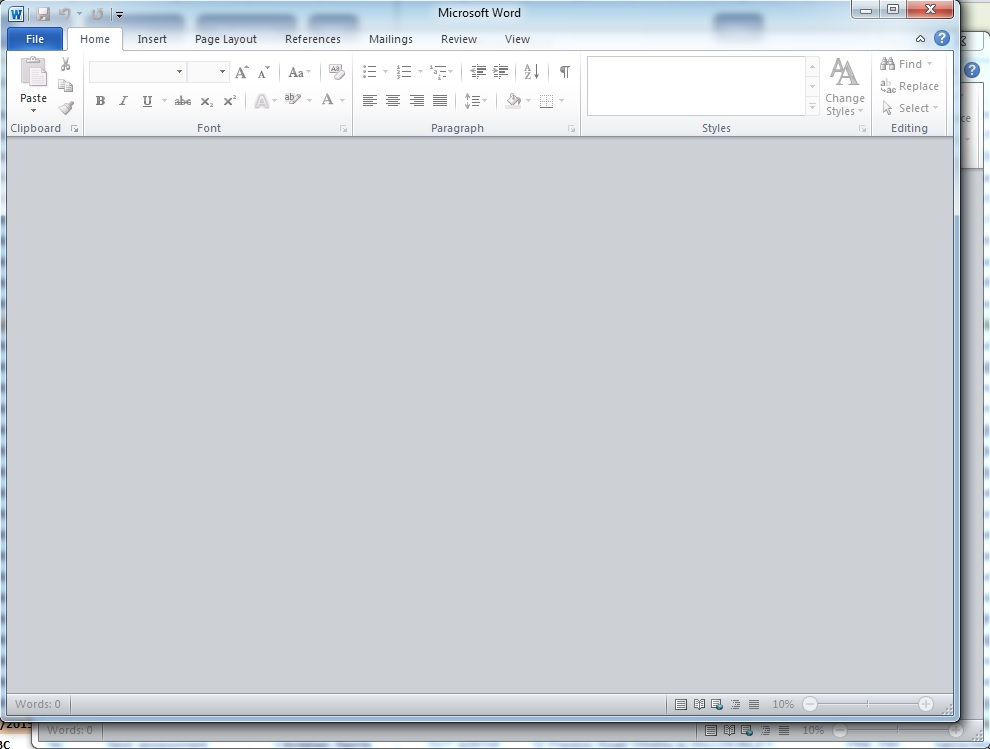 open word document and it is blank