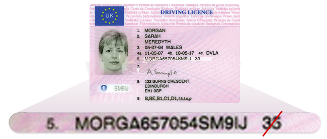 which number is document indentifier on driving licence