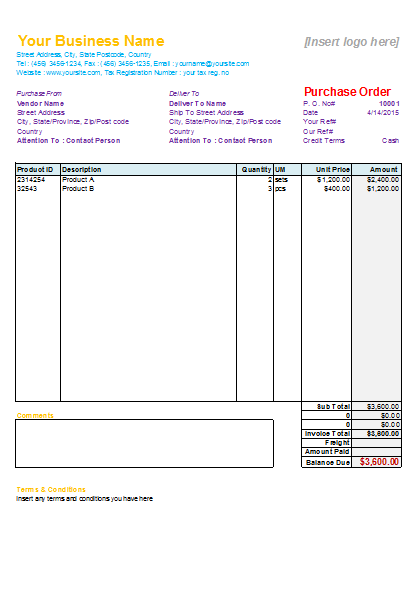 bill of material for purchasing document
