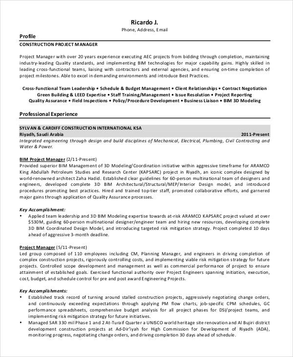 construction project specification document example