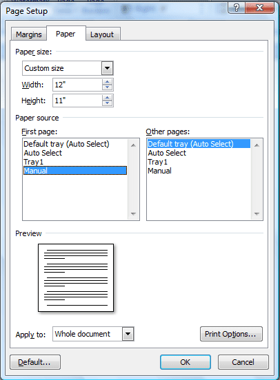 change size of word document