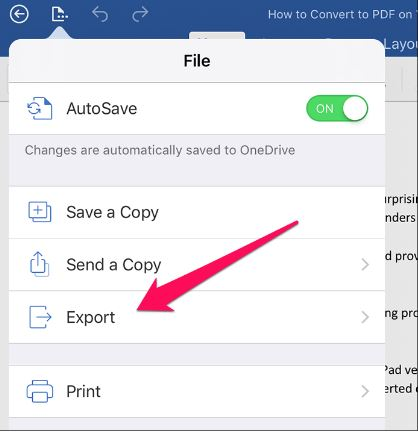 convert word document to pdf on iphone