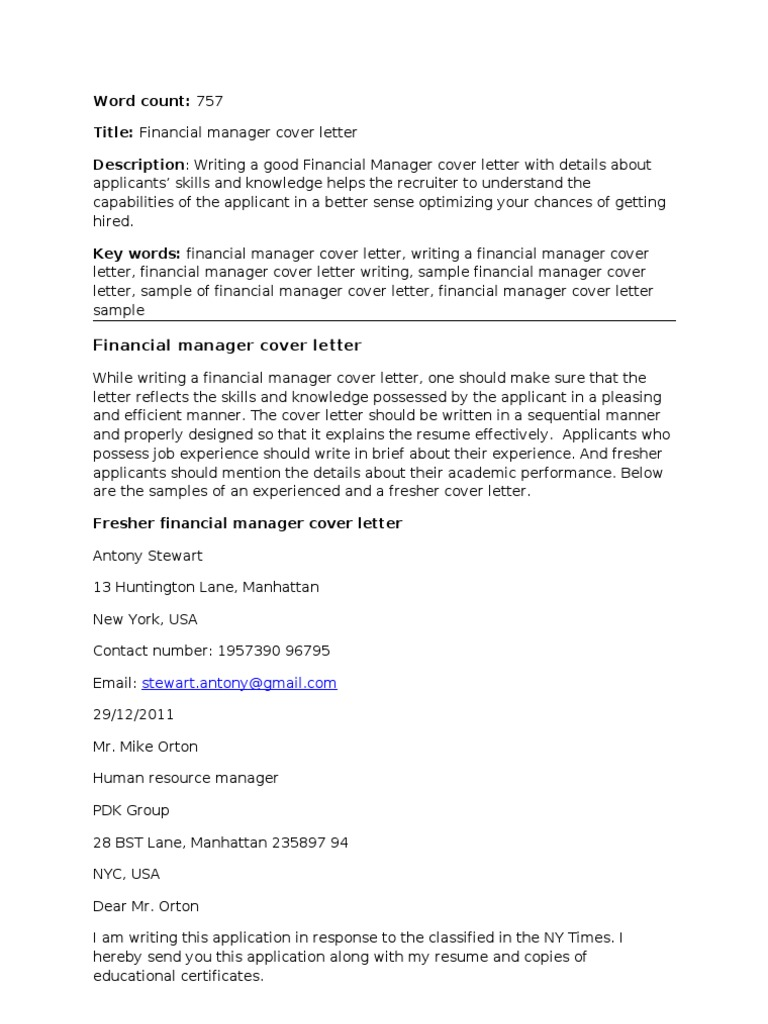 cover letter for document controller freshers