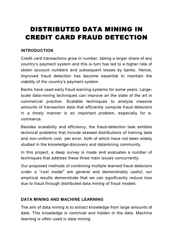 credit card fraud detection documentation