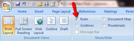 ruler not showing up on word document