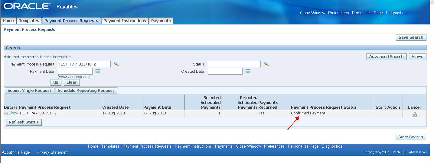 oci document printing status under process