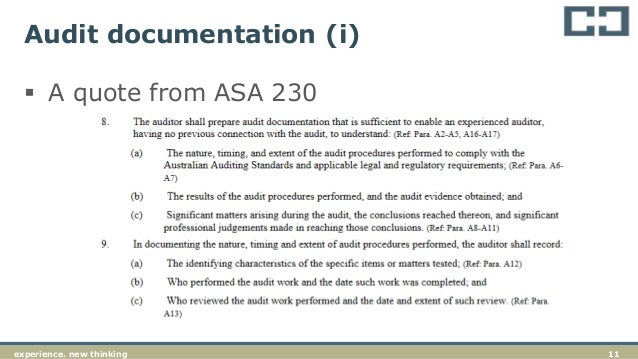 asa 230 audit documentation