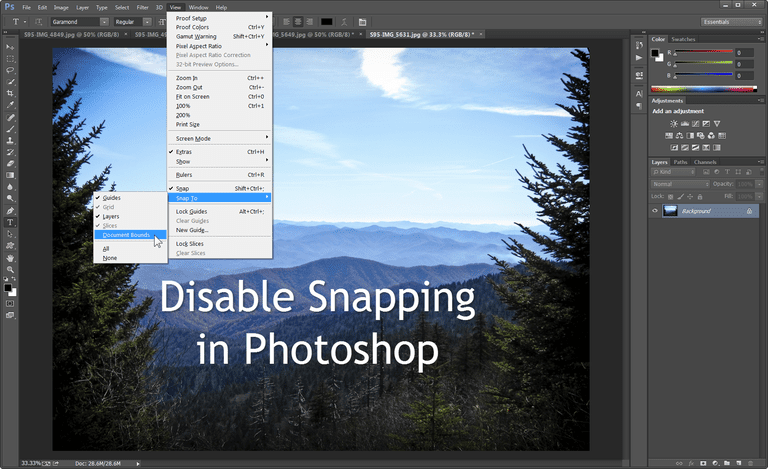 indesign cc how to snap to edge of document