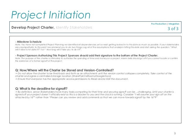 describe how project initiation documentation has been identified