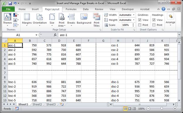 how to insert horizontal page in vertical document