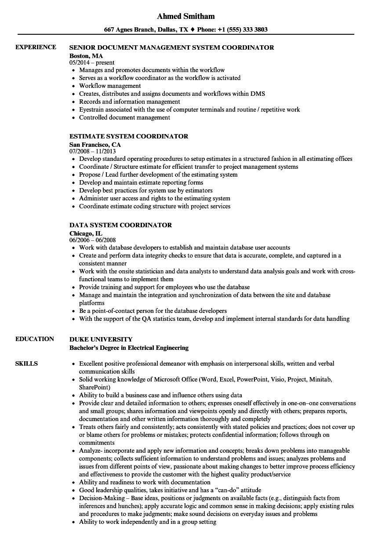 document control coordinator job description