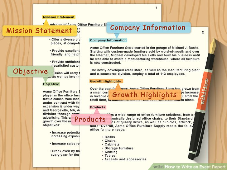 documentation format for events