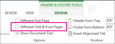 different headers in one word document