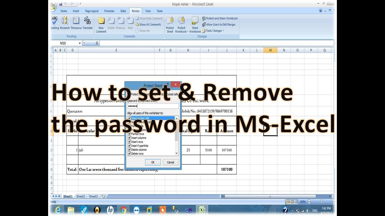 how to password an excel document