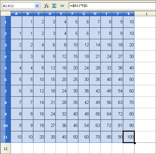 excel document showing times tables