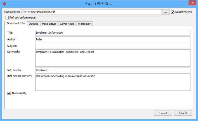 export page to word document