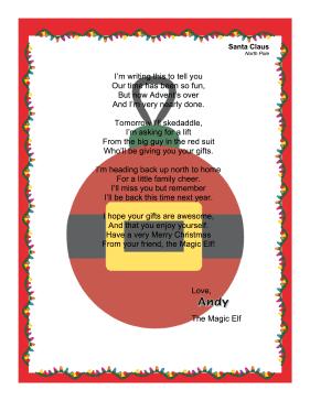 elf on the shelf letter from santa word document