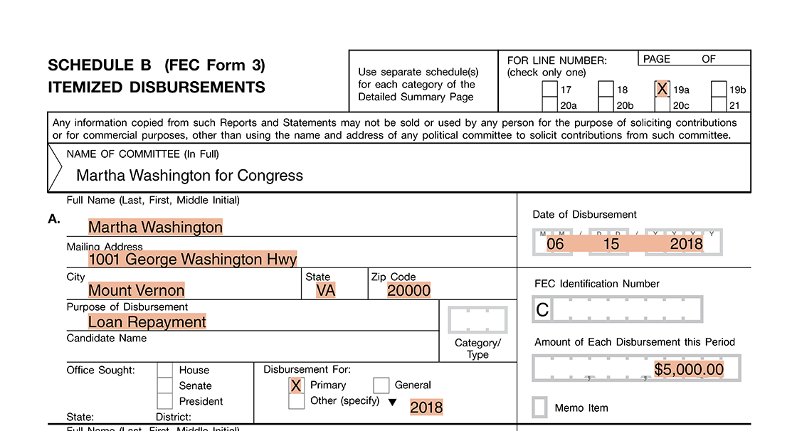 fec document to backup the numbers