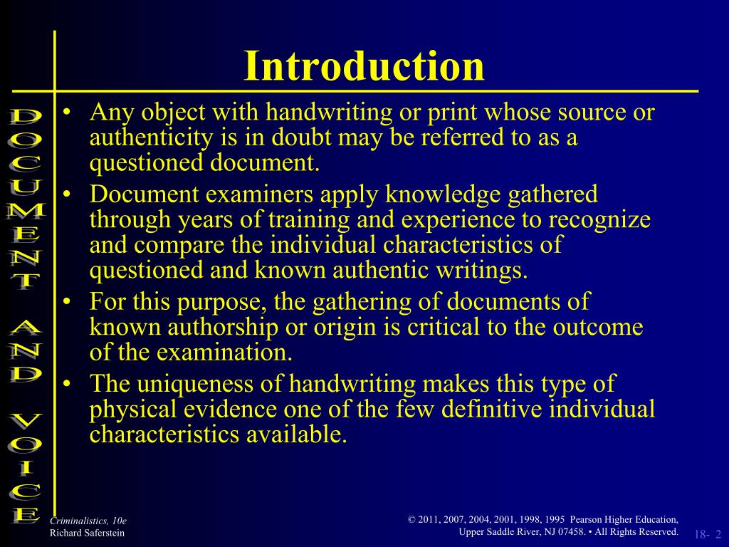 forensic characteristics of document examination
