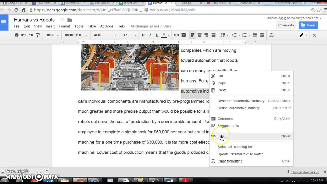 google docs in document hyperlink