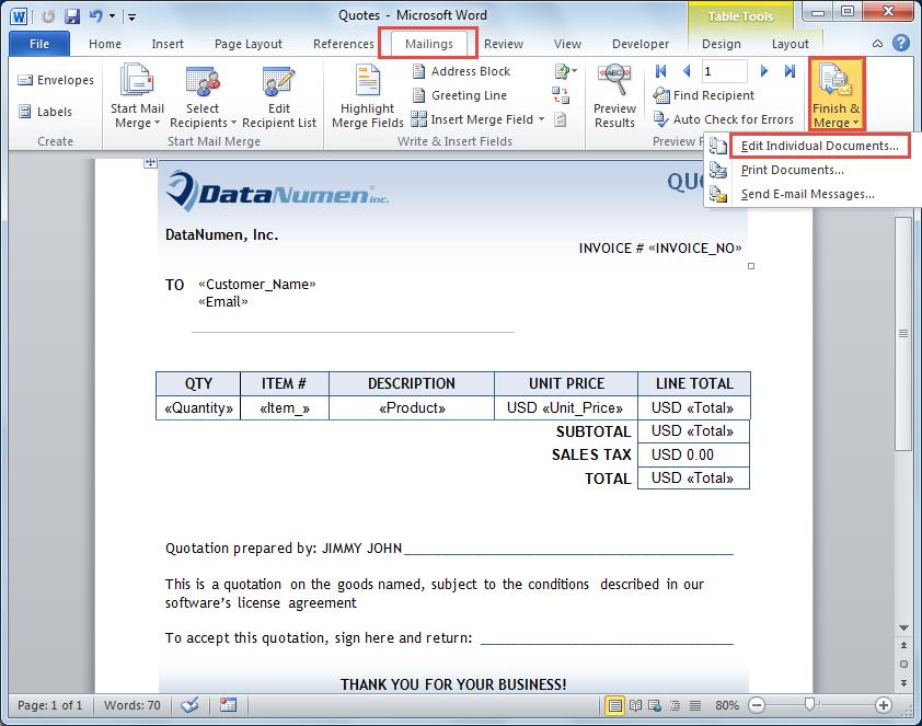 how to create a mail merge document in word 2010