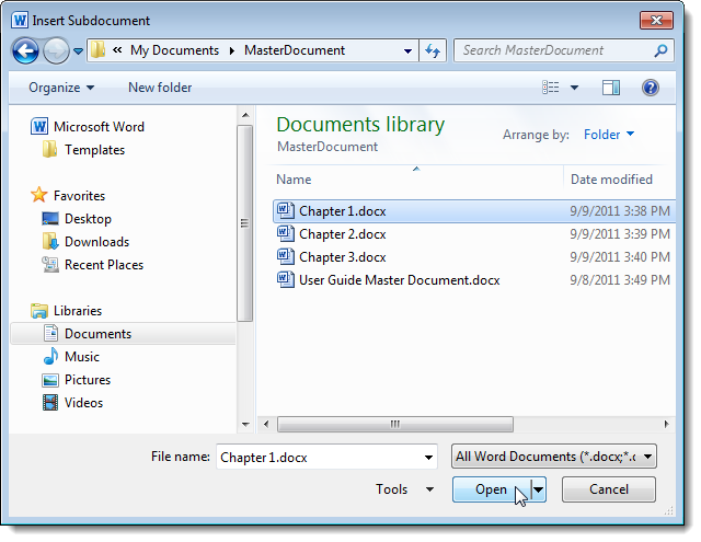 how to create a master document in word