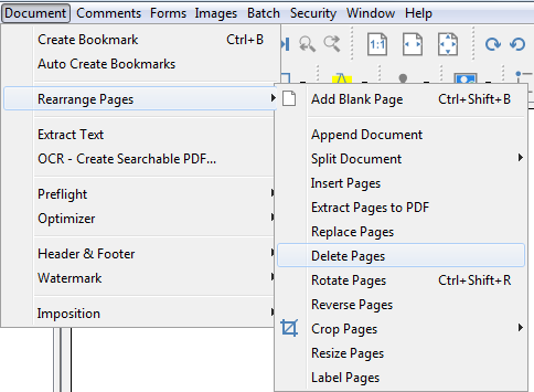 how to delete pages from a pdf document
