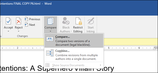 how to do a document compare in word 2010