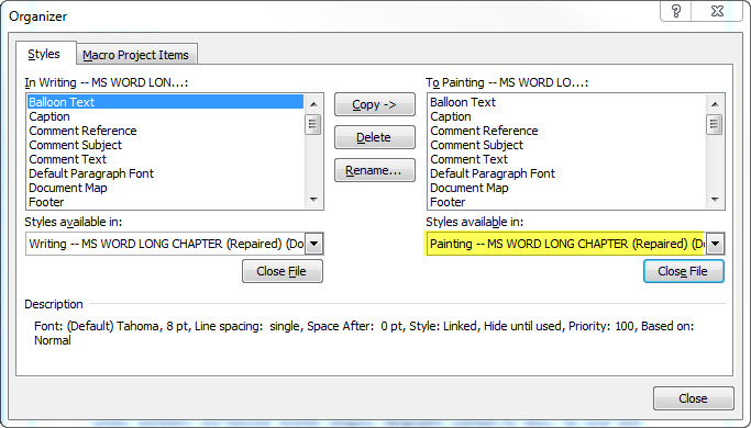 how to export styles from one word document to another