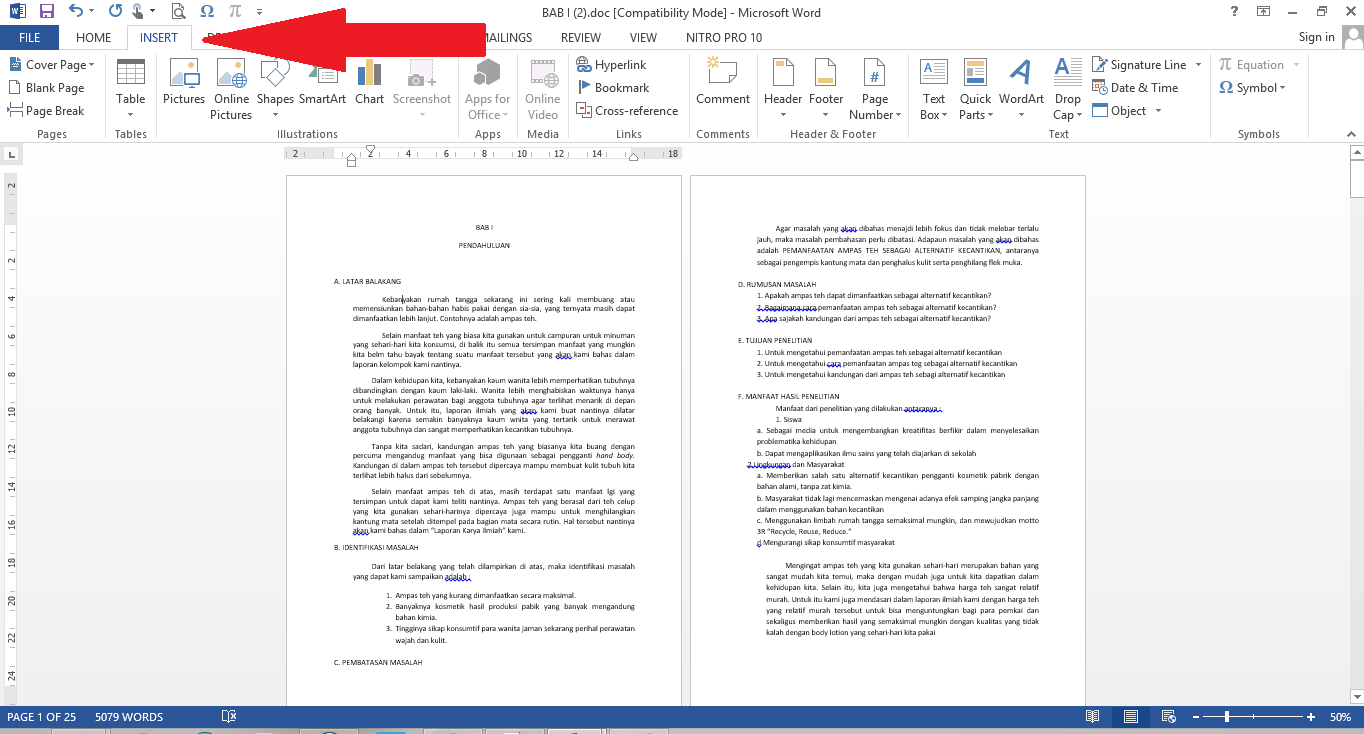 how to give a word document page numbers