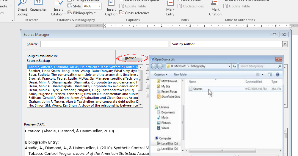 how to have 2 separate endnote bibliographies on one document