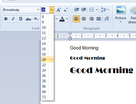 how to increase font size in a word document