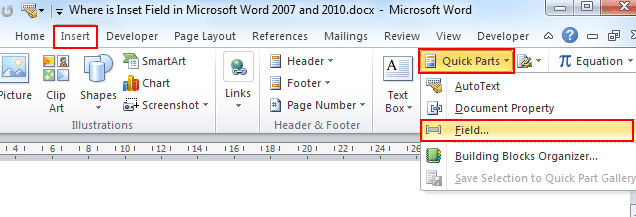 how to insert file location in footer of word document