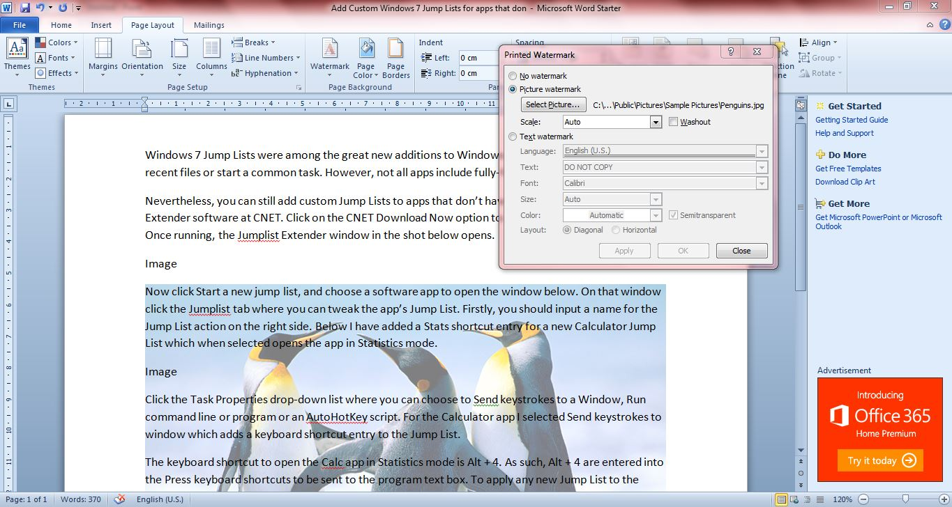how to insert watermark in word document