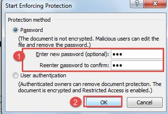 how to lock a word document 2016