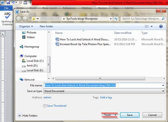 how to lock microsoft word document