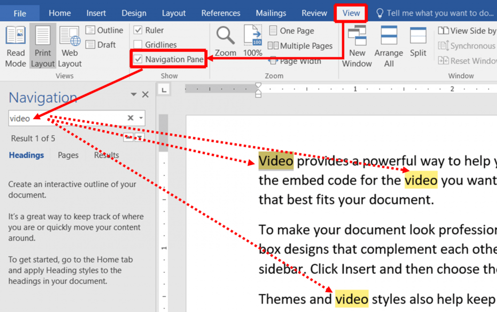how to open the navigation pane for document in word