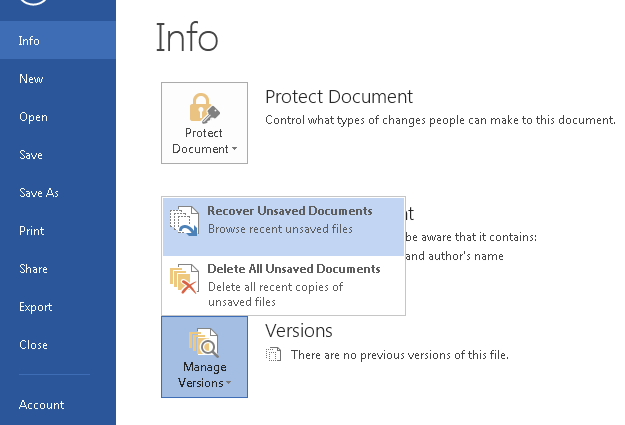 how to recover unsaved excel document 2013