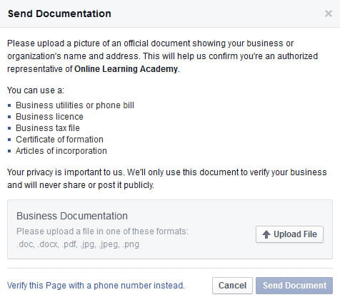 how to upload pdf document to facebook business