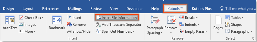 include file path in word document