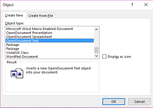 insert object in word document