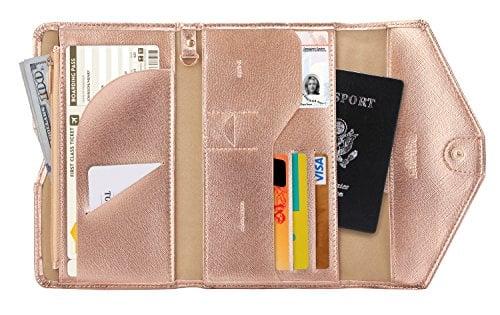 ladies leather travel document wallet