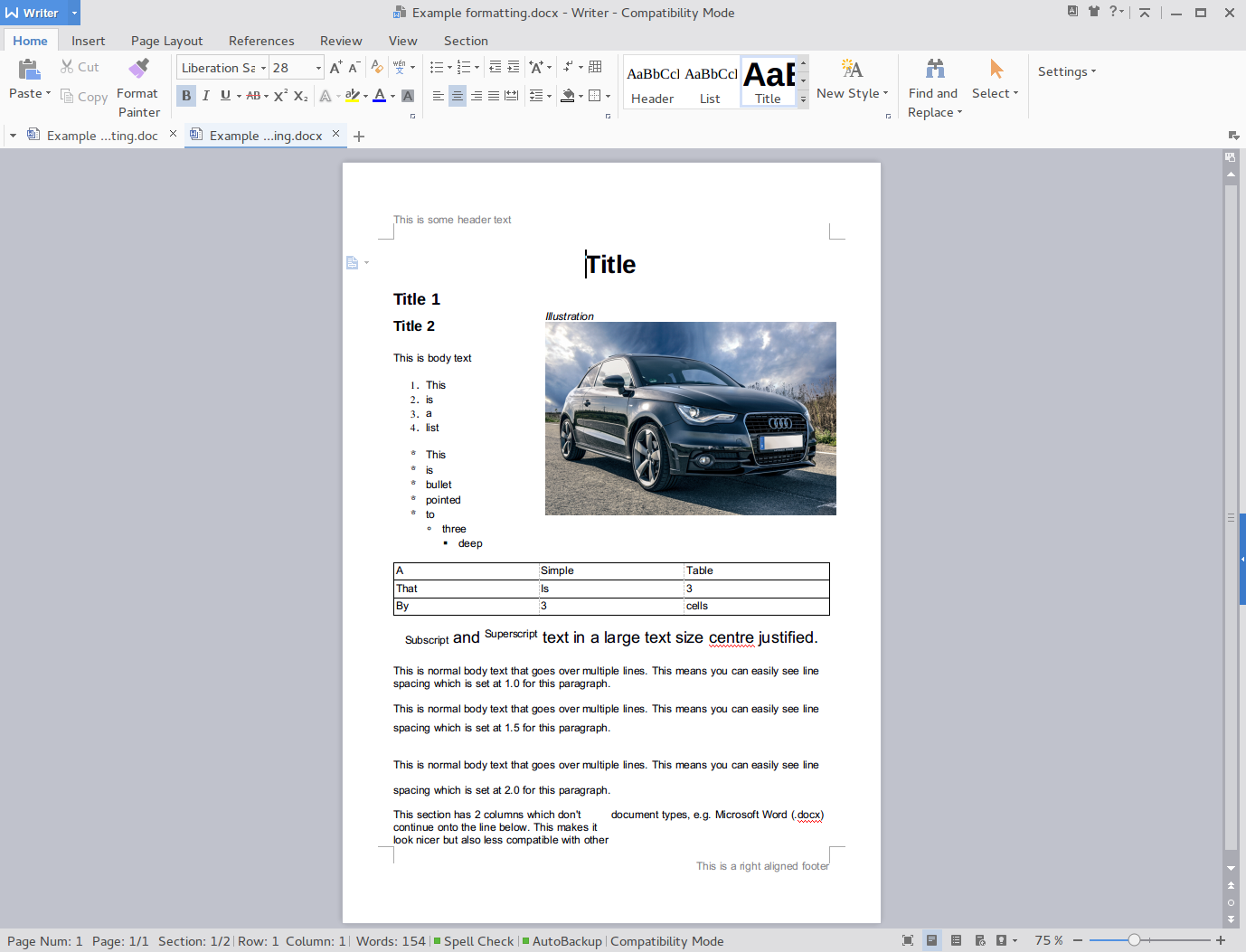 libreoffice document docx not looking right