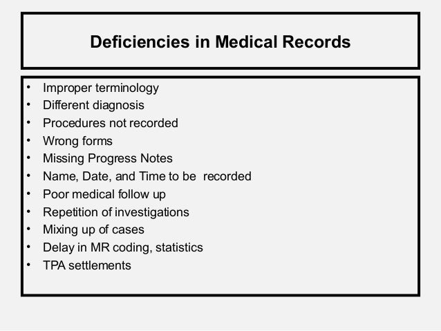medical record documentation examples