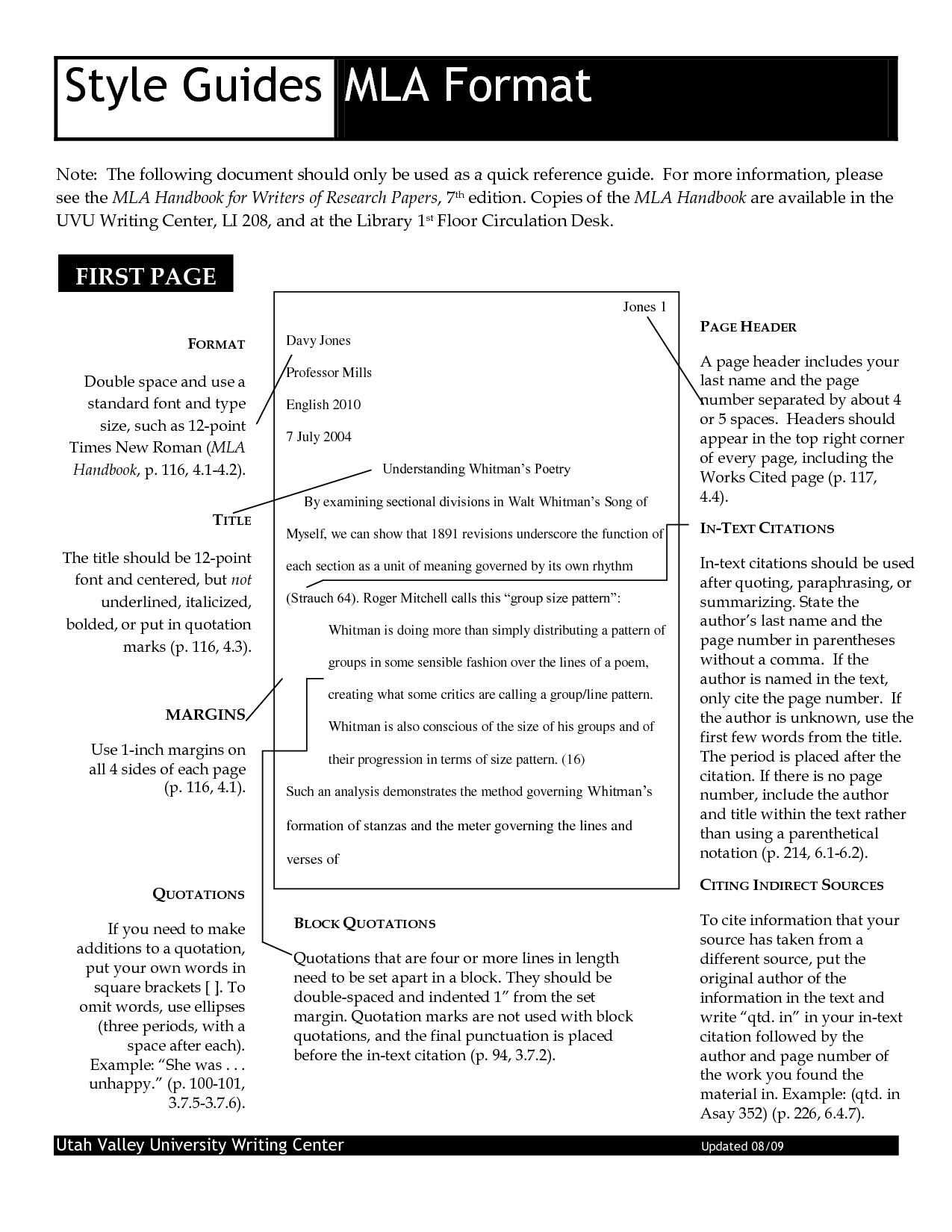 mla documentation style example