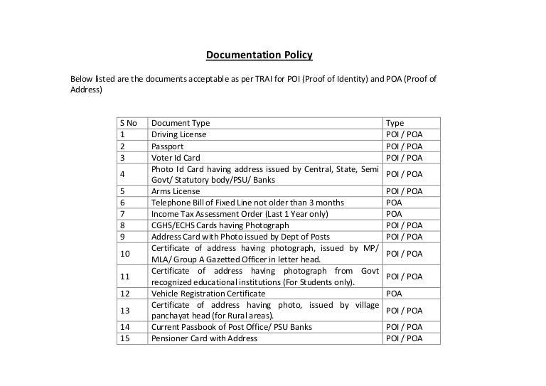 official documentation change of address shares
