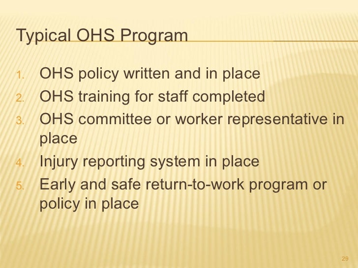ohs documentation in the workplace