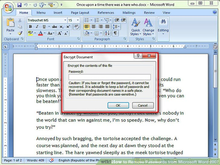 open word document with password