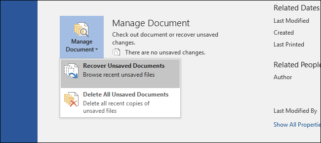 recover unsaved word document windows 10