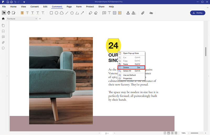 remove highlight from pdf document